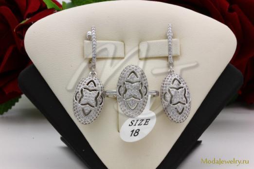 Гарнитур серьги+кольцо QSY CN13878